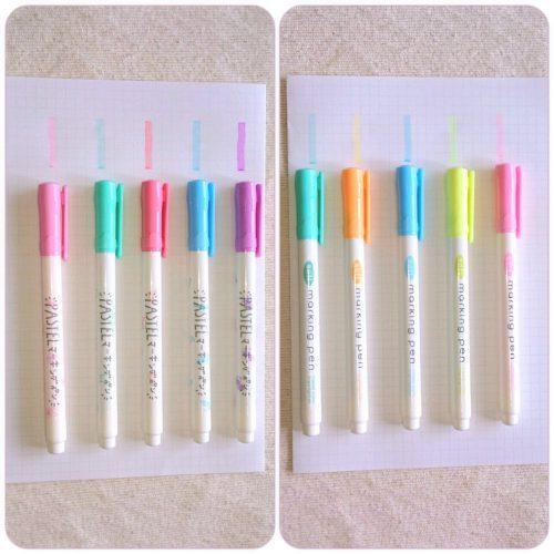 ダイソー パステルマーキングペン2種類の写真