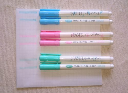 ダイソーパステルマーキングペン2種類比較の写真