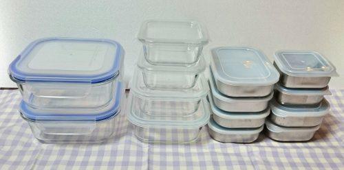 100均ダイソーの耐熱ガラスとステンレスの食品保存容器