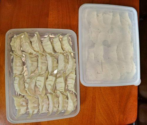 100均の薄いタッパーで冷凍餃子を保護しながら保存する